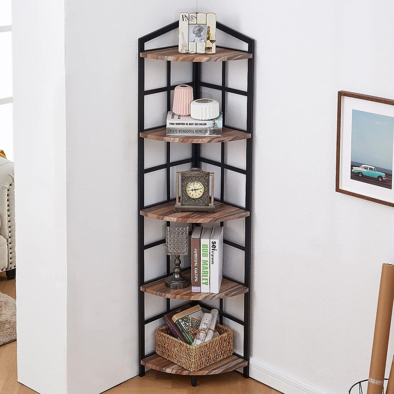 Bacswihom 5 Milwaukee Mall Tier Corner Bookshelf Industrial Challenge the lowest price of Japan ☆ Shelf with