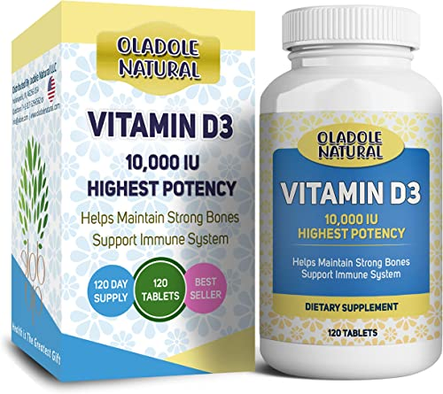 Oladole Natural Vitamin D3 10,000 iu High Potency, for Healthy Muscle Function, Bone Health, and Immune Support Non-G...