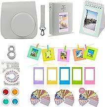 Fujifilm Instax Mini 9 Camera Accessories Bundle, Fuji 11 PC Smokey White Kit Includes: Instax Case + Strap, 2 Albums, Filter, Selfie Lens, Hanging + Creative Frames, 60 Stickers, Gift Set