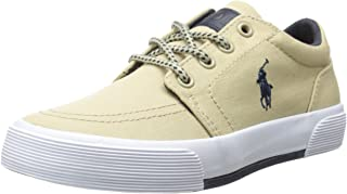 POLO RALPH LAUREN Kids Boys' Faxon Ii Sneaker, Khaki/Navy, 13.5 M US Little