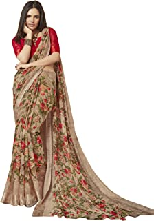 9b62bb2dac15a2 Shangrila Designer Women's Digital Printed Linen Cotton Saree with Unstitched  Blouse (Brown)