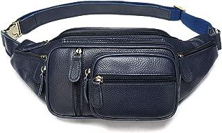 Genuine Leather Large Fanny Pack Waterproof Hip Belt Bag Waist Bag Crossbody Sling Backpack Dark Blue