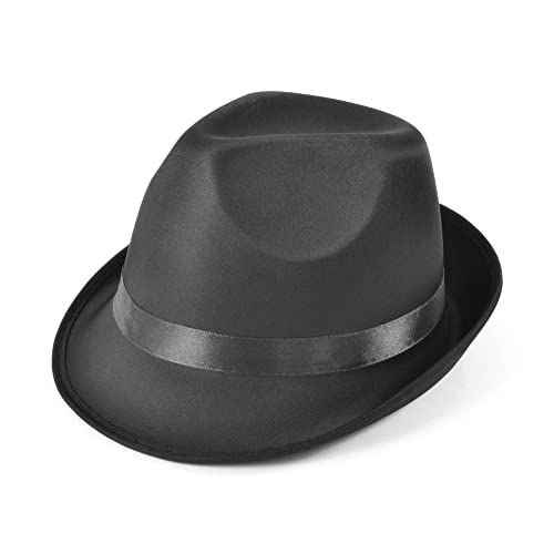 ad2634fde6e Madness Hat Black Fedora Hat Accessory for 50s 60s Fancy Dress Hat