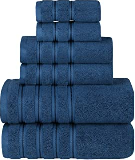 Sofi Towels 6 Piece Towel Set, Premium Luxury Hotel & Spa Quality, 100% Turkish Cotton Bathroom Towels, Super Soft, Highly Absorbent, 2 Bath Towels, 2 Hand Towels, 2 Washcloths, Blue