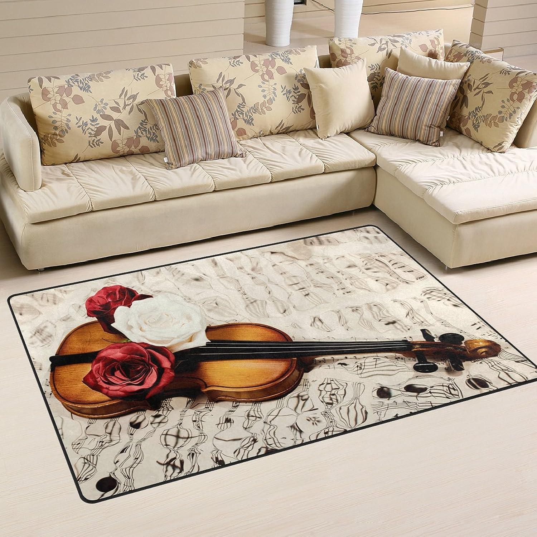 WOZO Old Violin Music Note pink Area Rug Rugs Non-Slip Floor Mat Doormats Living Room Bedroom 60 x 39 inches