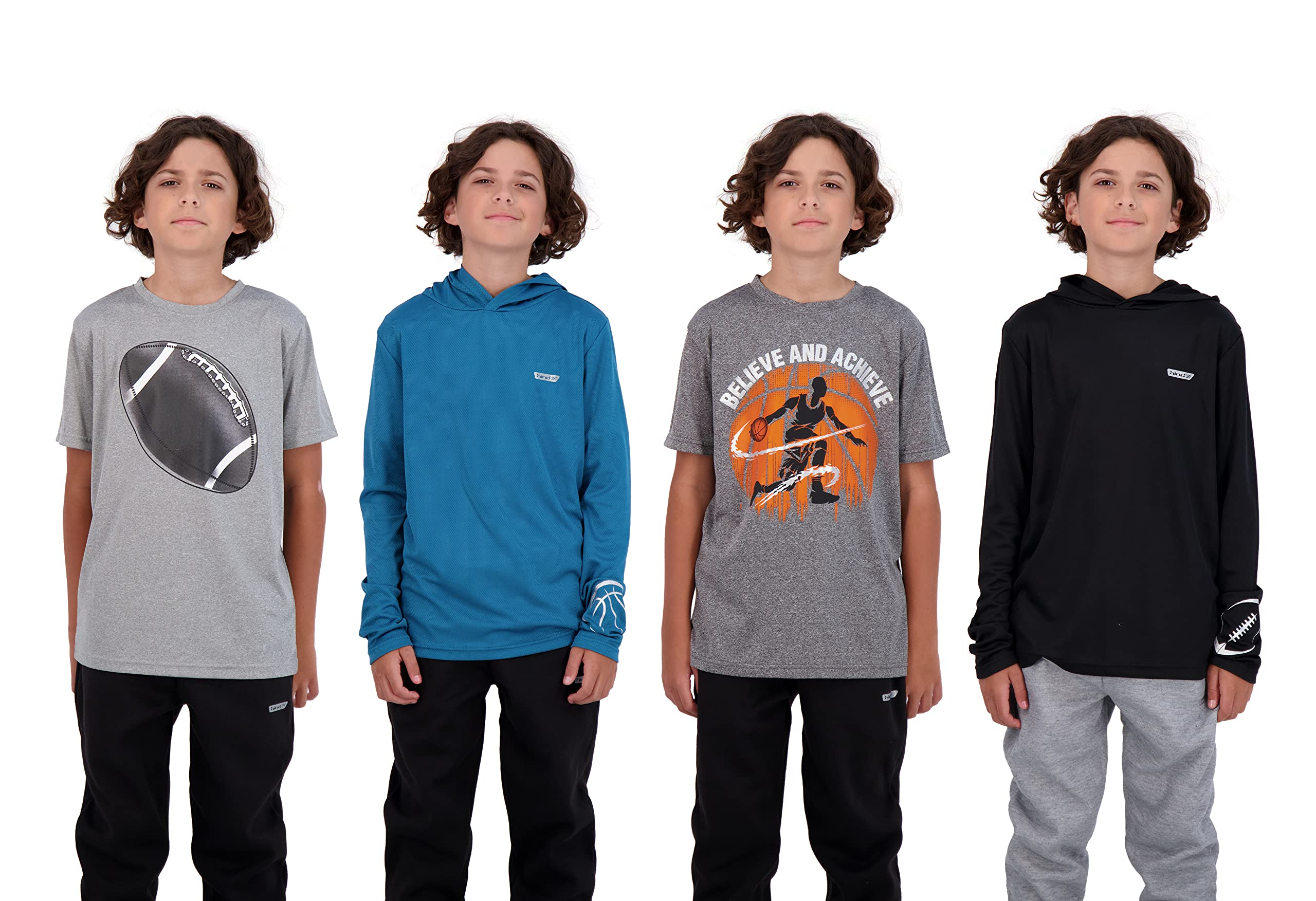 4-Pack Boys Youth Quick-Dry Breathable Performance Active Athletic T Shirts