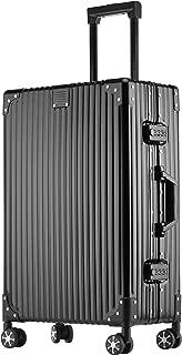 (P.I.) スーツケース キャリーケース TSAロック 半鏡面 アルミフレーム レトロ 旅行 出張 静音 超軽量