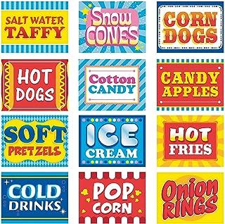 Fun Express Carnival Food Signs Decor - 12 Pieces