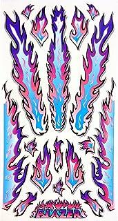 Rad Decalz - Blazer - Neon Blue, Pink and Purple Flames - 18 Sticker Decal Set