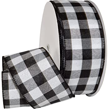 "Morex Ribbon Cambridge Wired Plaid Ribbon, 2.5"" x 50 yd, Black Gingham"