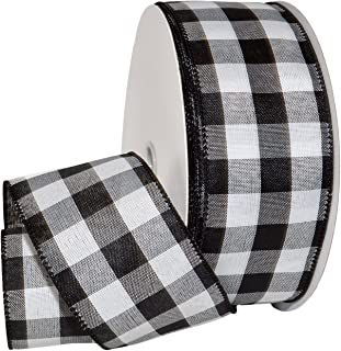 Morex Ribbon Cambridge Wired Gingham Plaid Ribbon, Black, 2-1/2