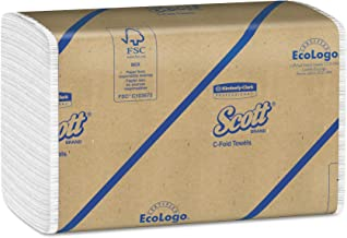 Scott 01510 C-Fold Towels, Absorbency Pockets, 10 1/8 x 13 3/20, White, 200 per Pack (Case of 12 Packs)