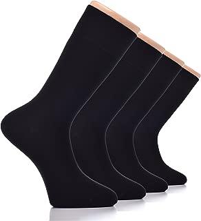 Hugh Ugoli Men's Bamboo Dress Socks Seamless Toe Business Crew Men Thin Socks, 4 Pairs