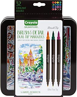 Crayola Signature Brush & Detail Dual Tip Markers,16pk, 32 Colours, Brush Tip, Pen Tip, Calligraphy Set, Lettering, Detail...