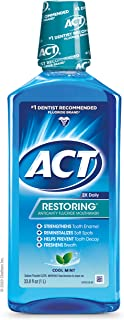 ACT Restoring Mouthwash, Cool Splash Mint, 33.8 Ounce Bottles (Pack of 3), Anticavity Fluoride Mouthwash Helps Support Too...