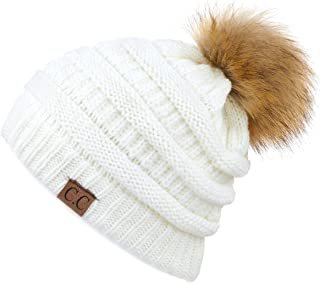 646cbbcad8f C.C Hatsandscarf Exclusives Unisex Solid Ribbed Beanie with Pom (HAT-43)