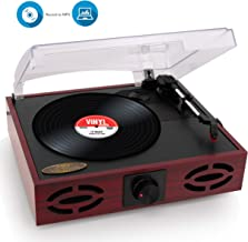 Pyle 3-Speed Stereo Turntable, Classic Vintage Style, Vinyl Record Player, Supports Vinyl..
