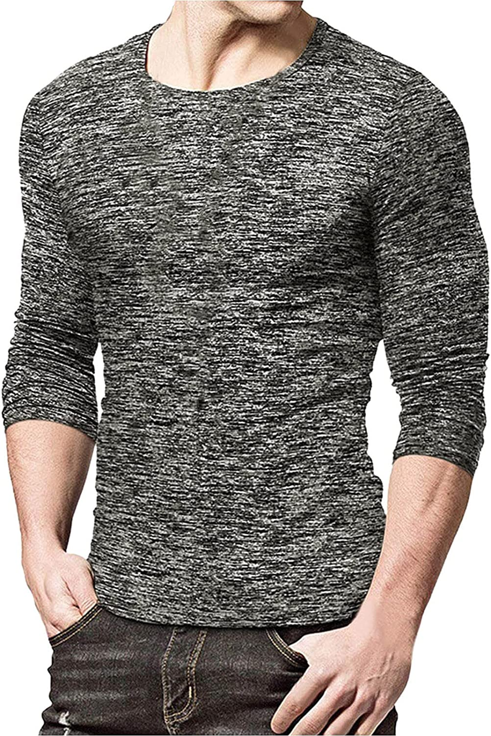 Huangse Men's Summer Solid Color 3/4 Sleeve T-Shirt Quick Dry Round Collar Sportswear Running Jogging Fitness Tee Tops