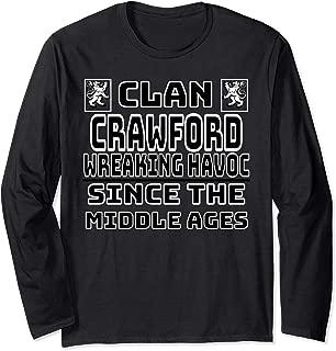 Crawford Scottish clan Family Kilt Tartan Lion Long Sleeve T-Shirt