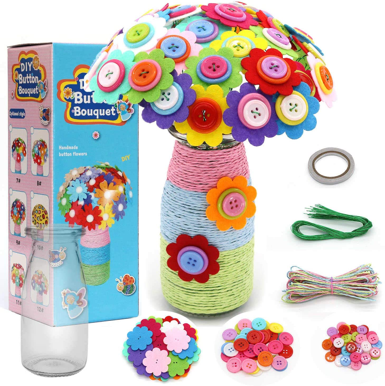 Make Your Own Flower Bouquet with Buttons and Felt Flowers Vase Art Toy /& Craft Project for Children DIY Flower Craft Kit Fun Activity Gift for Boys /& Girls Age 4 5 6 7 8 9 10 Year Old Carnation