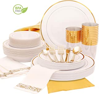 Earth's Dreams 25Guest Gold Disposable Plastic Plates-[301 Pcs] Gold Rim Wedding Party Plates-Dinnerware set with Gold Silverware Dinner and Dessert Plates, Bowls, Napkins,Cutlery,Cups,1 Table Runner