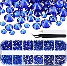 TecUnite 2000 Pieces Flat Back Gems Round Crystal Rhinestones 6 Sizes (1.5-6 mm) with Pick Up Tweezer and Rhinestones Picking Pen for Crafts Nail Face Art Clothes Shoes Bags DIY (Royal Blue)