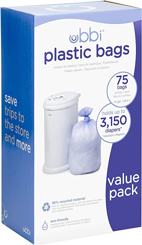 Ubbi Disposable Diaper Pail Plastic Bags Made With Recyclable Material True Value Pack 75 Count 13 Gallon