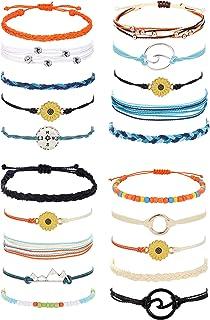 SAILIMUE 20 Pcs VSCOString Bracelets for Women Men Friendship Sunflower Bracelet Summer Ankle Jewelry Handmade Waterproof...