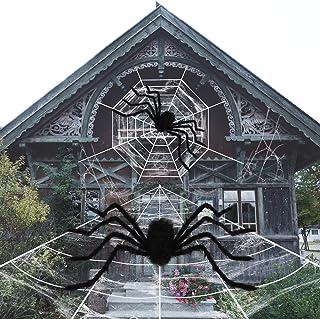 زينة روندا للهالوين، 2 عناكب مخيفة و2 شبكة عنكبوتية عملاقة مع شبكة عنكبوتية قابلة للتمدد للغاية، تستخدم للأبواب، ديكور داخ...