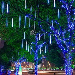 Aukora Rain Drop Lights, LED Meteor Shower Lights 11.8 inch 8 Tubes 144leds, Icicle Snow Falling Lights for Xmas Halloween Party Holiday Garden Tree Christmas Thanksgiving Decoration Outdoor (Blue)