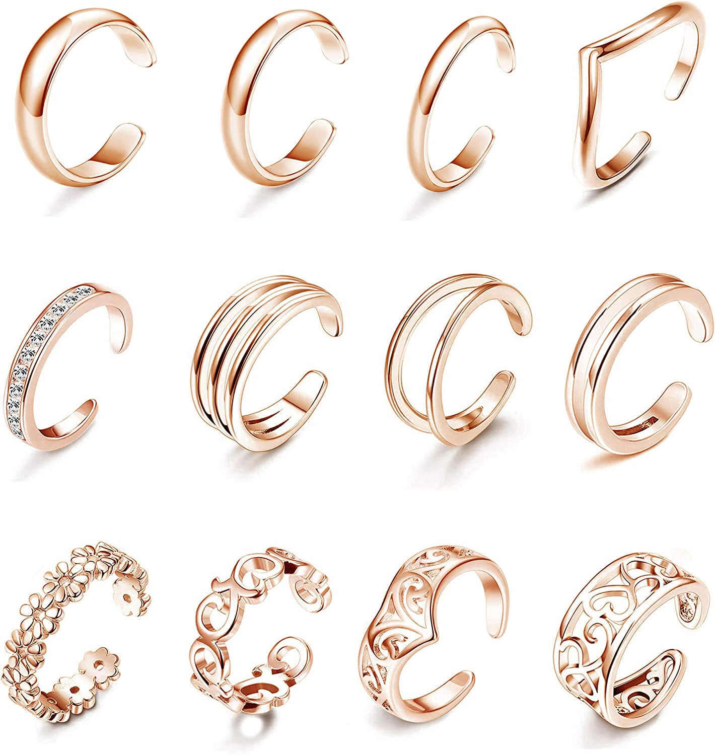 Subiceto 12 PCS Open Toe Rings Tail Challenge the lowest price Rin Tucson Mall Women for Arrow Band