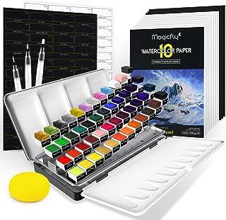 Akvarellfärgsset, Magicfly 48 akvarellfärg för nybörjare (med pärlemorskimmer, neon och metalliska färger), bärbar målning...
