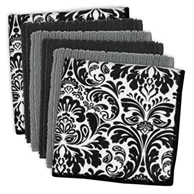 DII Microfiber Multi-Purpose Cleaning Cloths Perfect for Kitchens, Dishes, Car, Dusting, Drying Rags, 12 x 12, Set of 6 - Black Damask