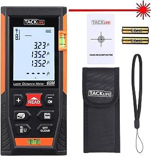 Telémetro Láser, TACKLIFE Profesional Metro Laser 60m, Precisión +/- 1.5mm, Pantalla Retroiluminada LCD, m/in/ft, 30 Datos, Distancia, Área, Volumen, Pitágoras, Protección IP54, Niveles de Burbuja