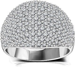 خاتم على شكل قبة من الماس - خواتم أنيقة فضية للنساء مفرغة كبيرة من حجر الراين خاتم الزواج المكعب للنساء 5-11