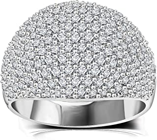 Diamond Accent Dome Ring - Fine Polish Full Pave Cubic Zirconia Big Hollow Women Wedding Band Statement Ring 5-11