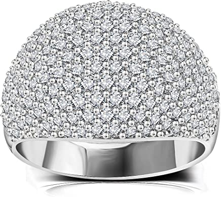 White Diamond Accent Dome Ring - Cluster Cubic Zirconia Paved Statement Wide Bands Size 6-10