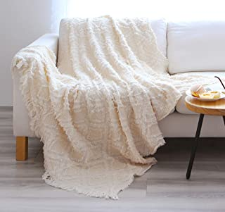 Sofila Cotton Woven Rustic Throw Blanket with Fringe Warm Cozy for Couch Bed Sofa All Seasons, 46