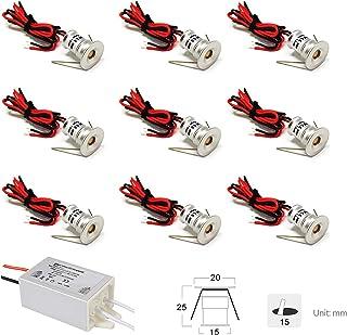 Pequeños faros LED de 9 piezas, 12 V, 1 W, luz de techo empotrada para cocina, escaleras, armario, pasillo, DIY iluminación blanca cálida y fría, gabinete de luz, IP65 (blanco cálido, 120°)