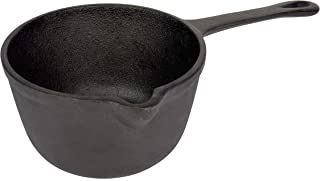 Jim Beam Pre-Seasoned Heavy Duty Construction Cast Iron Basting Pot for Grilling and Oven, Large, Black