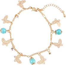 Camisa Ch/évere 24K Gold Rhinestone Dragonfly Charm Fashion Womens Chain Bracelet and Anklet