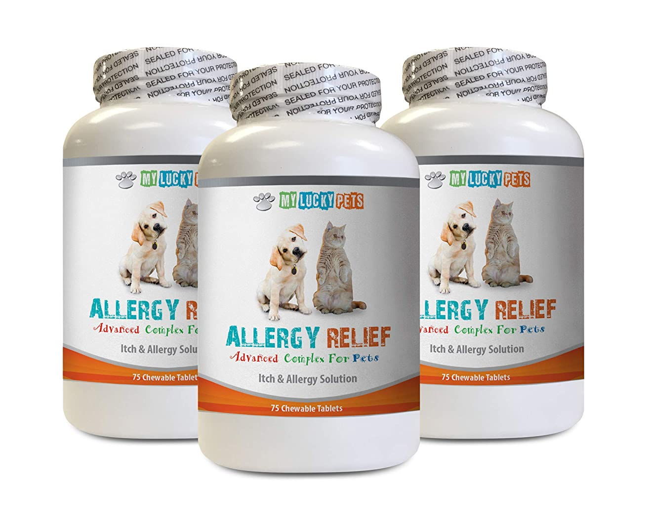 Dog Itchy Skin Relief - PET Allergy Relief - for Dogs and Cats - Lucky Itch Solution - Keep Fur Healthy - Burdock for Dogs - 3 Bottles (225 Chewable Tablets)