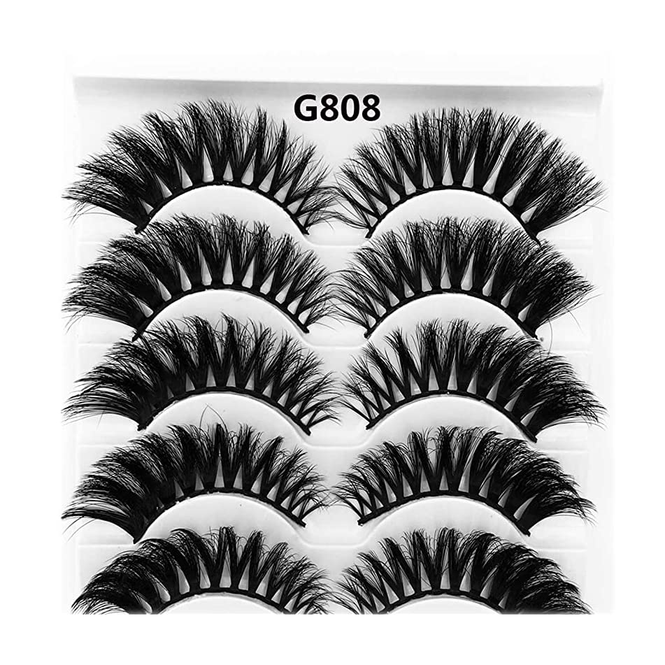 5 Pairs Mink Hair False Eyelashes Thick Curled Full Strip Lashes Eyelash Women Eyes Natural Makeup,G808