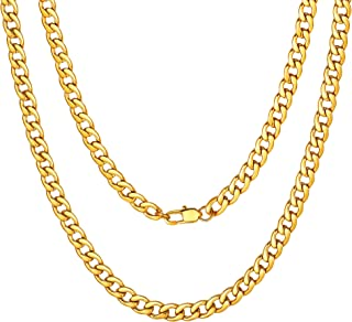 "ChainsPro Mens NK 1:1 Curb Chain Necklace, 5/9/12/15 MM Width, 18"" 20"" 22"" 24"" 26"" 28"" 30"" Length, Hip-Hop Cool Style, 316..."