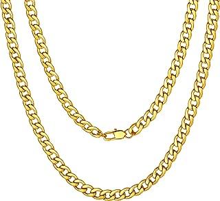 Mens Sturdy Cuban Chain Necklace, 4/5/6/9/12/13/15 MM Width, 14