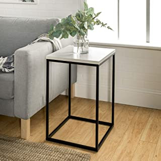 Walker Edison Marble Modern Open Square Side Accent Living Room Small End Table, 16 Inch