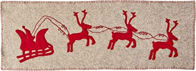 ARCADIA HOME Gray Handmade Hand Felted Wool Table Runner with Reindeer and Sleigh, 16x44