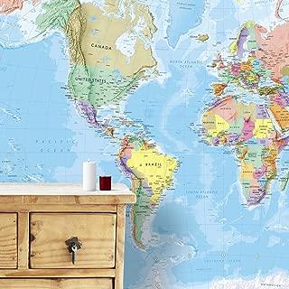 Maps International - Giant World Map Mural - Mega-Map Of The World Wallpaper - 91 x 62 - Blue Ocean