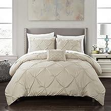 Chic Home Daya 4 Piece Duvet Cover Set Pinch Pleat Ruffled Design Embellished Zipper Closure Bedding - Decorative Pillow S...