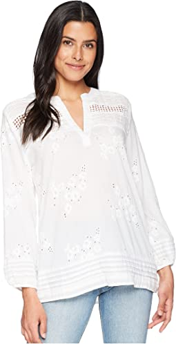 Rosalie Pintuck Cotton Voile Embroidery Blouse